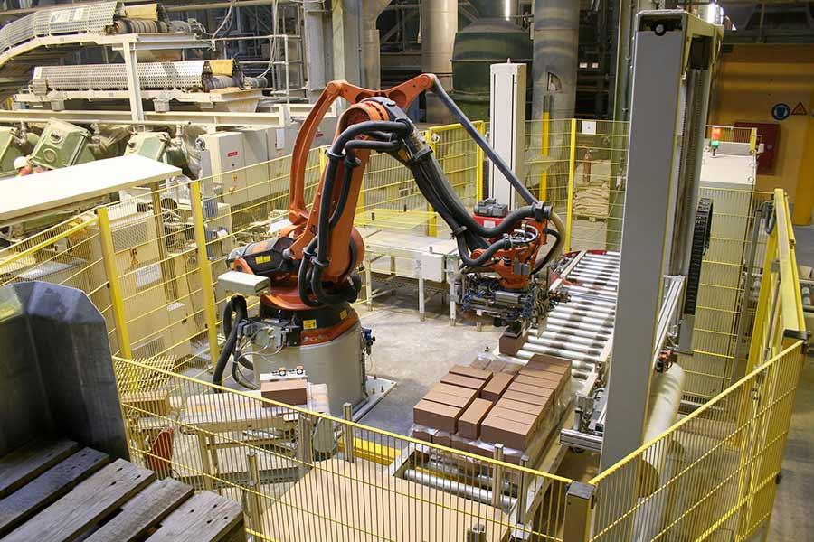 Palettieren von Tonhubeln in Roboterzelle